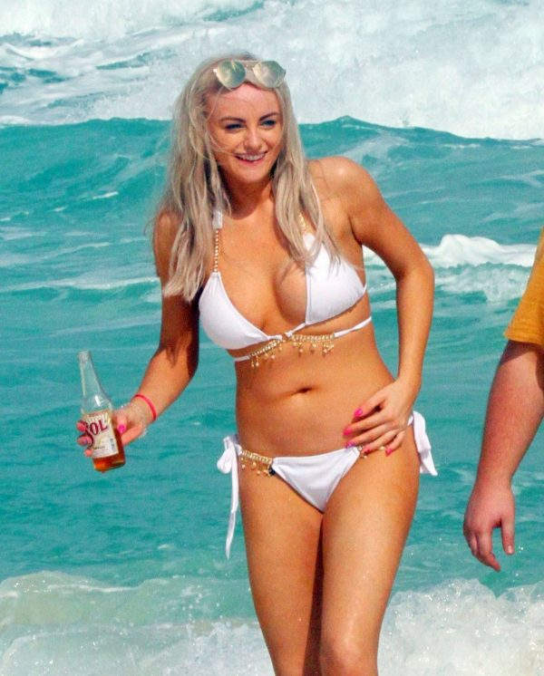 Katie McGlynn In white bikini on the beach in Mexico 11