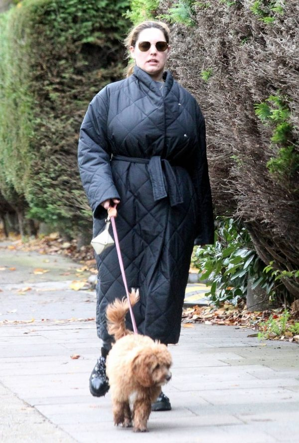 Kelly Brook Takes her dog Teddy out for a walk in London 01