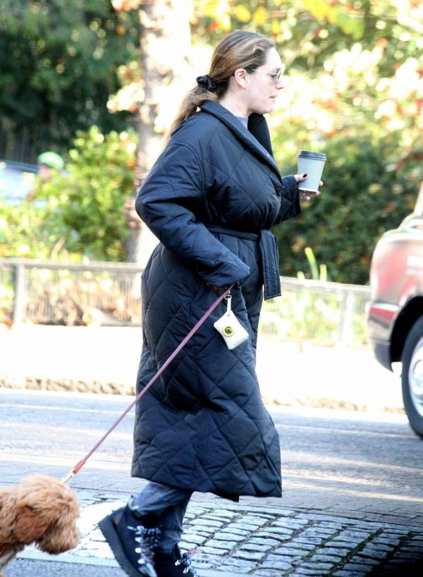 Kelly Brook Takes her dog Teddy out for a walk in London 05
