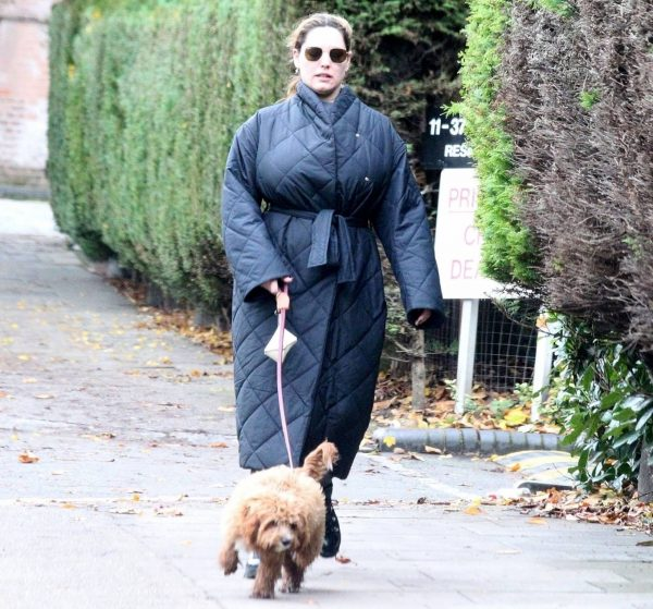 Kelly Brook Takes her dog Teddy out for a walk in London 11