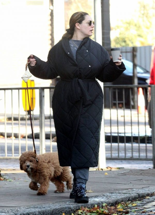 Kelly Brook Takes her dog Teddy out for a walk in London 15