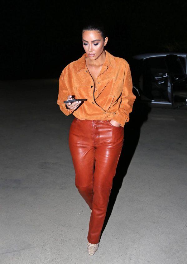 Kim Kardashian In leather and suede in Malibu 05