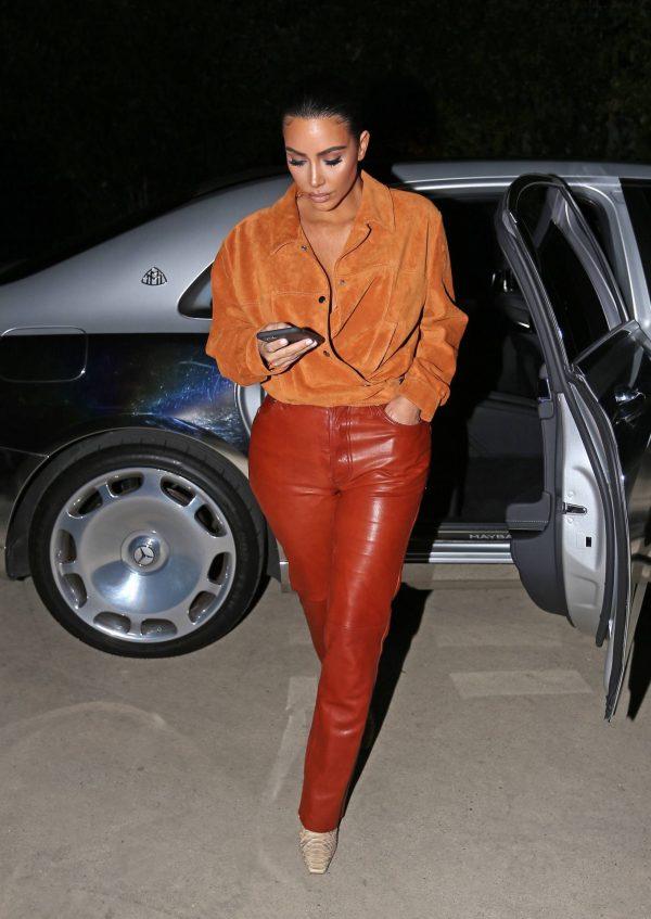 Kim Kardashian In leather and suede in Malibu 10
