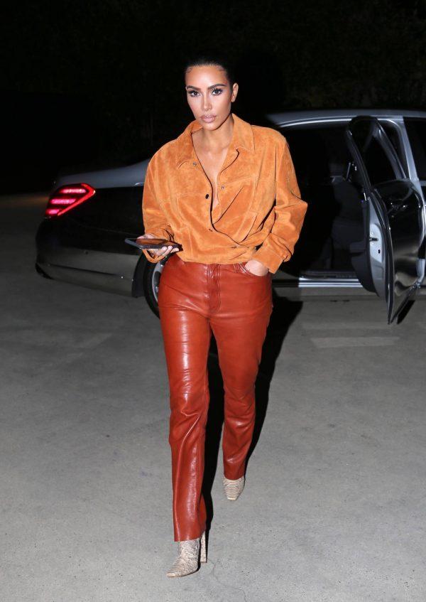 Kim Kardashian In leather and suede in Malibu 14