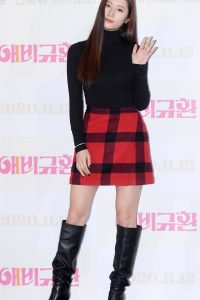 Krystal Jung Possing at a press conference for More Than Family in Seoul 02