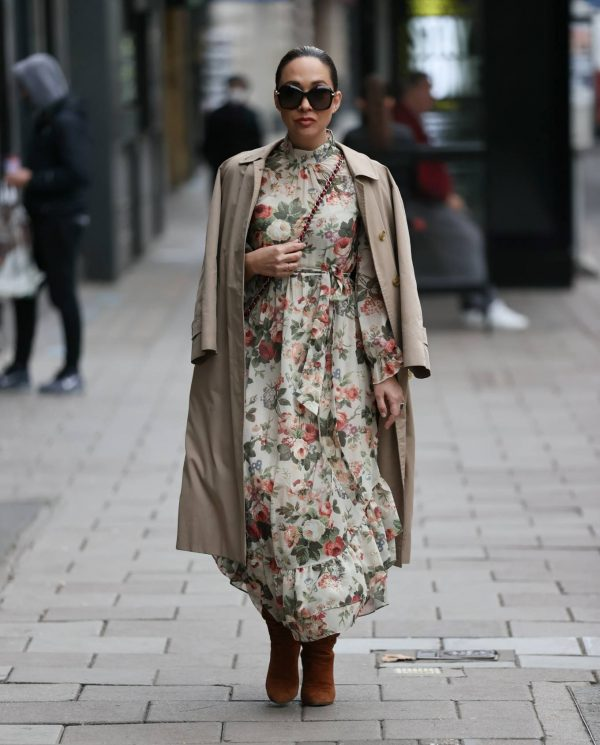 Myleene Klass In floral dress at Smooth radio in London 01