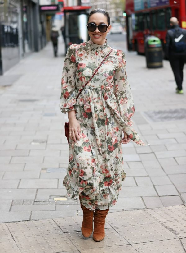 Myleene Klass In floral dress at Smooth radio in London 02