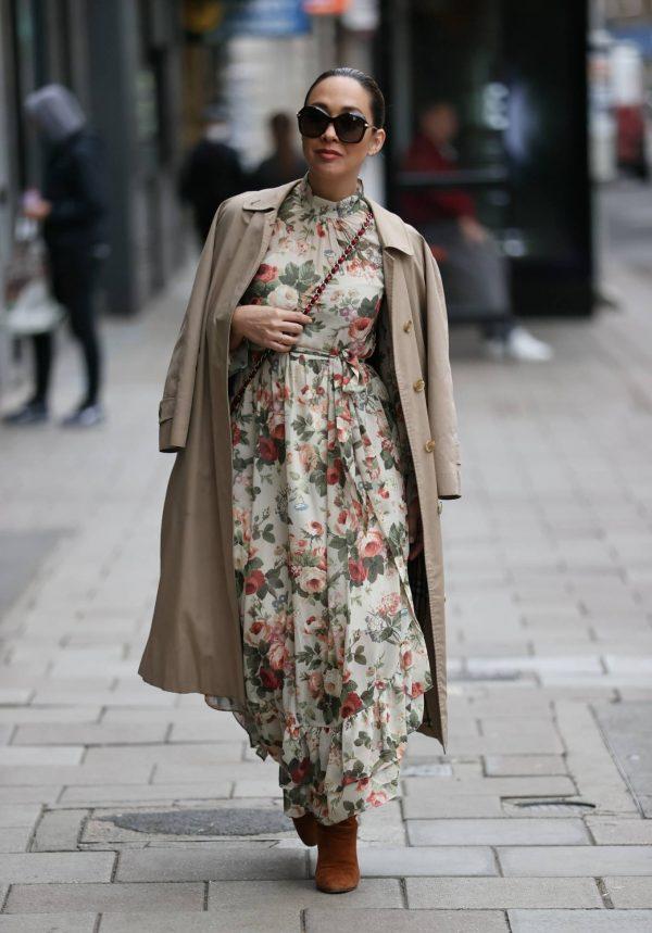 Myleene Klass In floral dress at Smooth radio in London 03