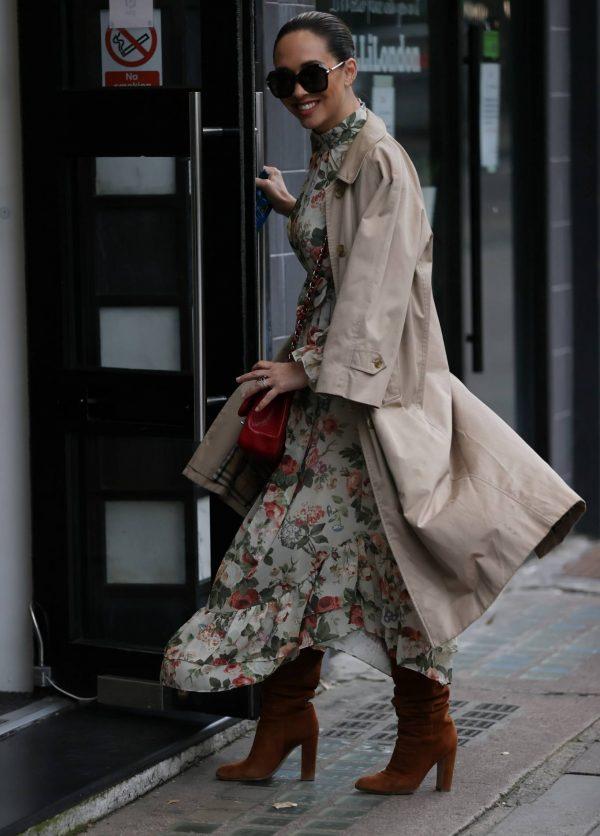 Myleene Klass In floral dress at Smooth radio in London 04