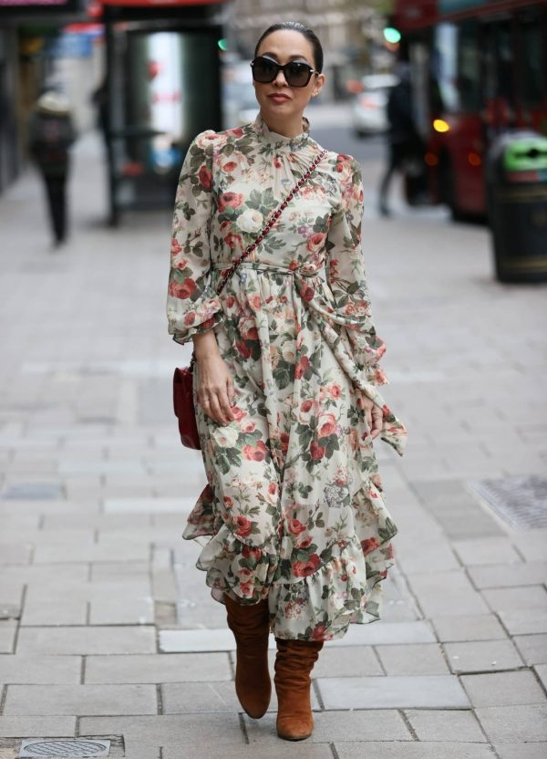 Myleene Klass In floral dress at Smooth radio in London 05