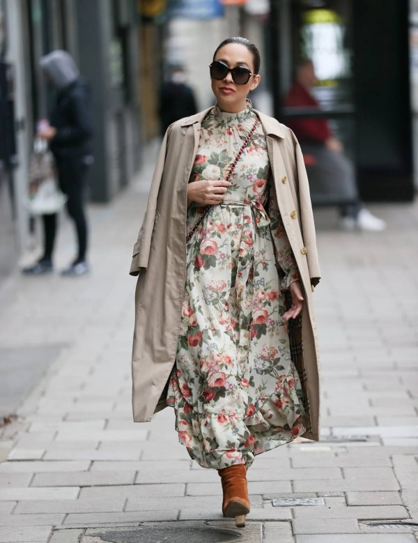 Myleene Klass In floral dress at Smooth radio in London 06