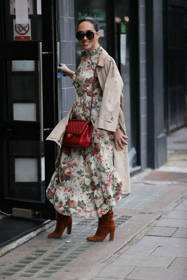 Myleene Klass In floral dress at Smooth radio in London 09