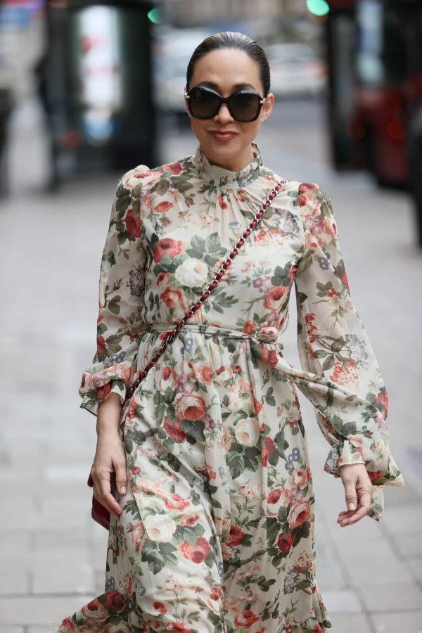 Myleene Klass In floral dress at Smooth radio in London 10