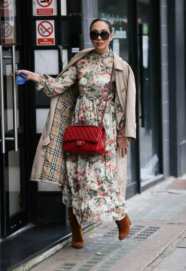 Myleene Klass In floral dress at Smooth radio in London 11