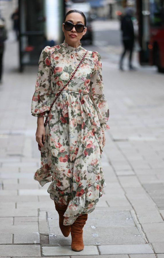 Myleene Klass In floral dress at Smooth radio in London 12