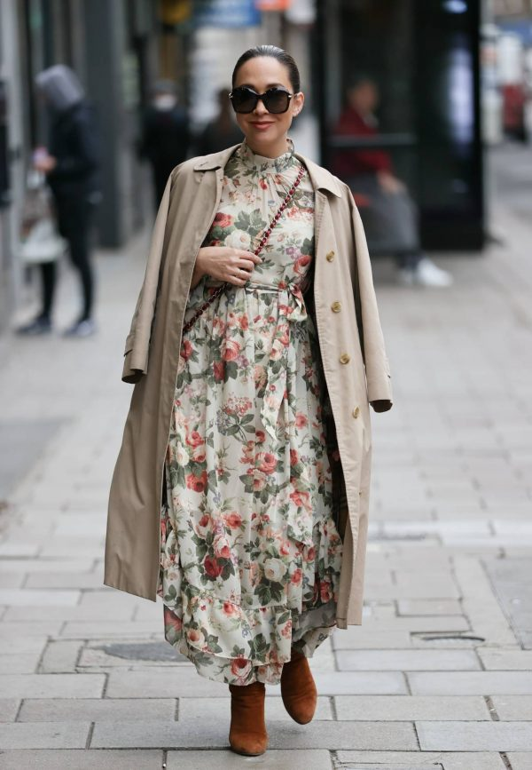 Myleene Klass In floral dress at Smooth radio in London 13
