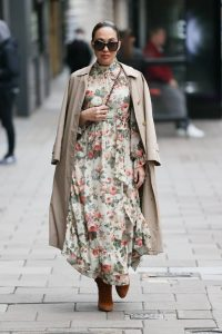 Myleene Klass In floral dress at Smooth radio in London 14