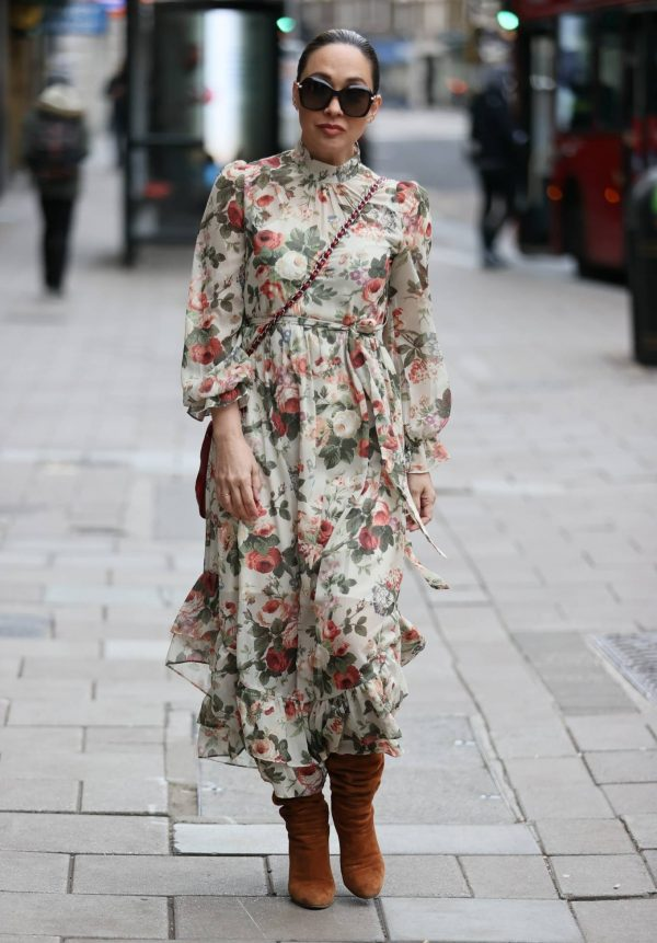 Myleene Klass In floral dress at Smooth radio in London 15
