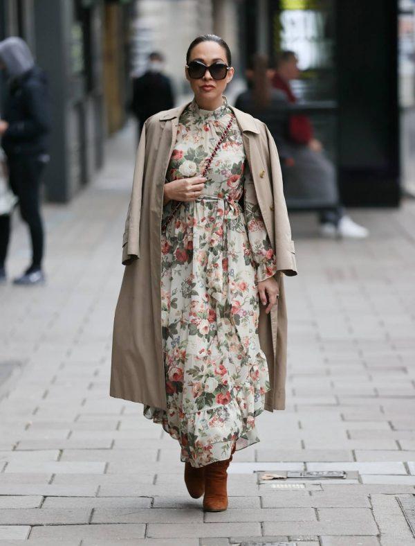 Myleene Klass In floral dress at Smooth radio in London 16