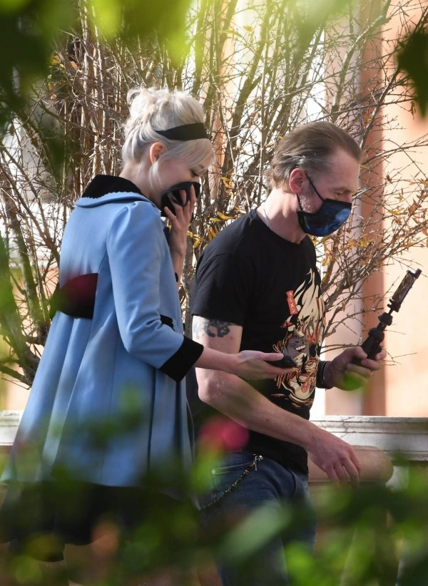 Pom Klementieff Making videos with Simon Pegg in Venice 10 1