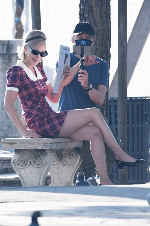 Pom Klementieff with Simon Pegg seen making videos with her mobile phone in Venice 03