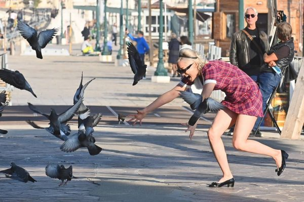 Pom Klementieff with Simon Pegg seen making videos with her mobile phone in Venice 09