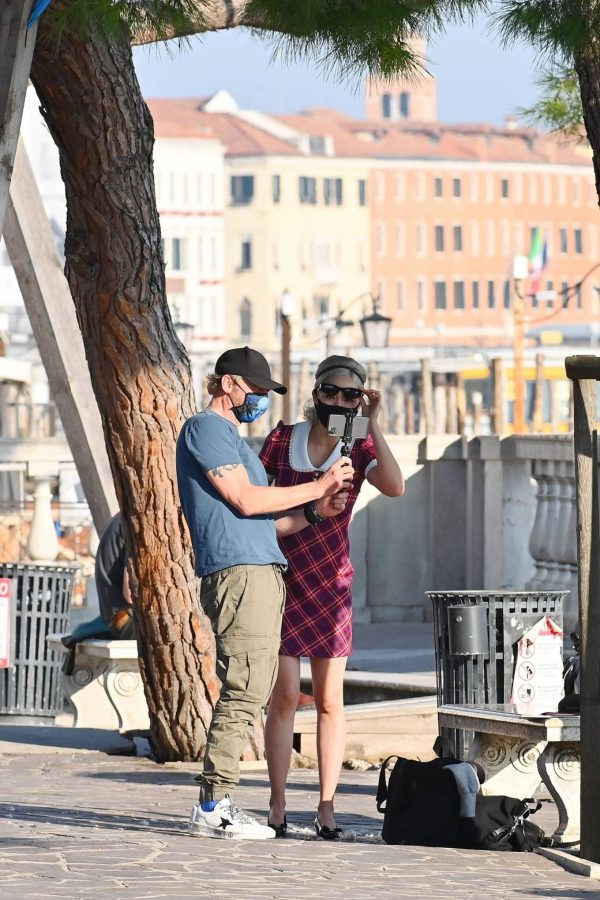 Pom Klementieff with Simon Pegg seen making videos with her mobile phone in Venice 17