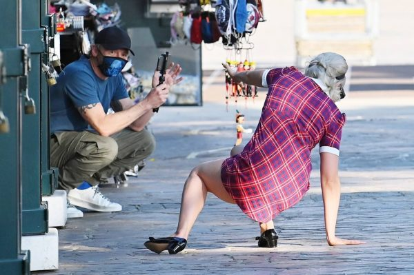 Pom Klementieff with Simon Pegg seen making videos with her mobile phone in Venice 21