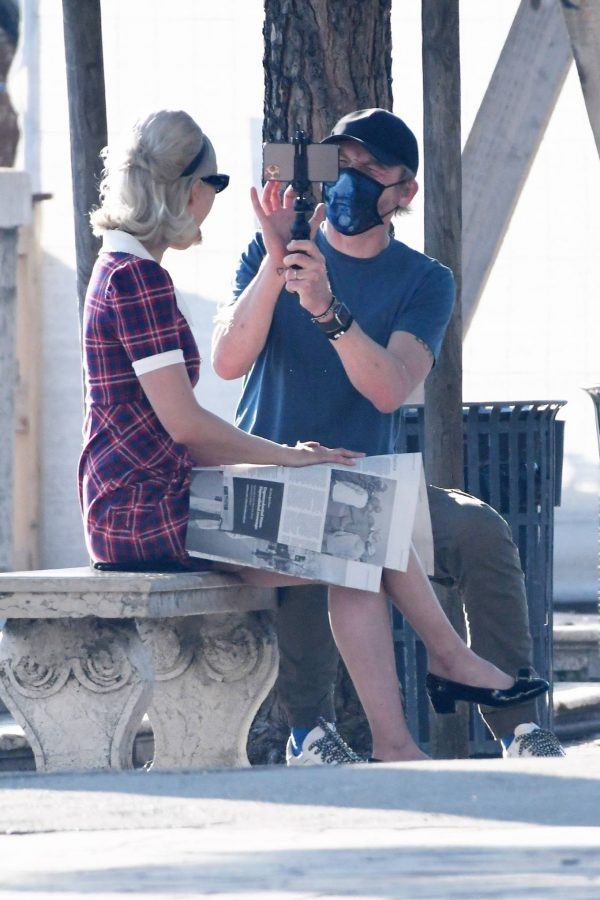 Pom Klementieff with Simon Pegg seen making videos with her mobile phone in Venice 24