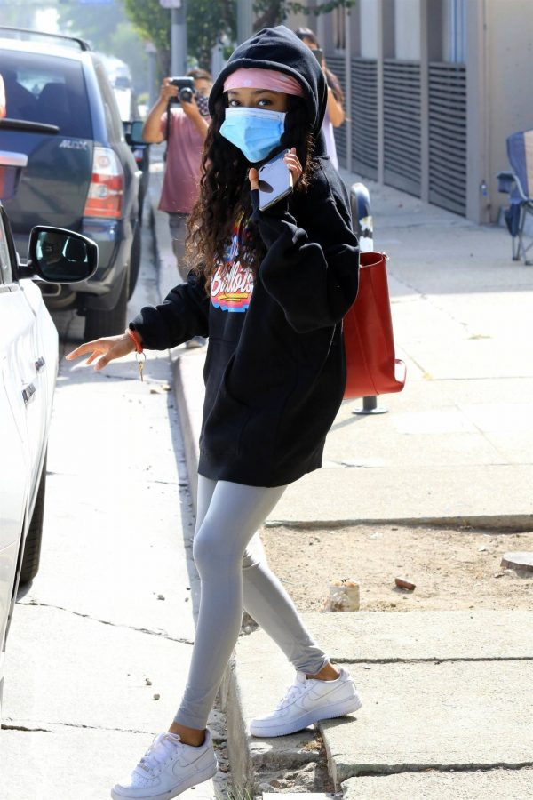 Skai Jackson Wearing mask as she leaving DWTS studio in Los Angeles 05