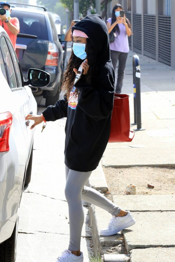 Skai Jackson Wearing mask as she leaving DWTS studio in Los Angeles 06