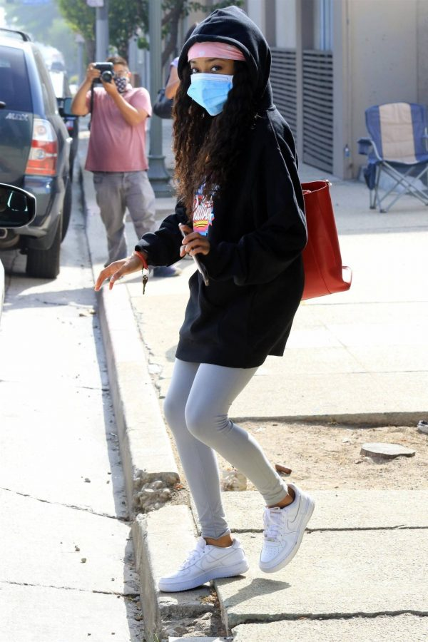 Skai Jackson Wearing mask as she leaving DWTS studio in Los Angeles 07