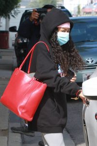 Skai Jackson Wearing mask as she leaving DWTS studio in Los Angeles 09