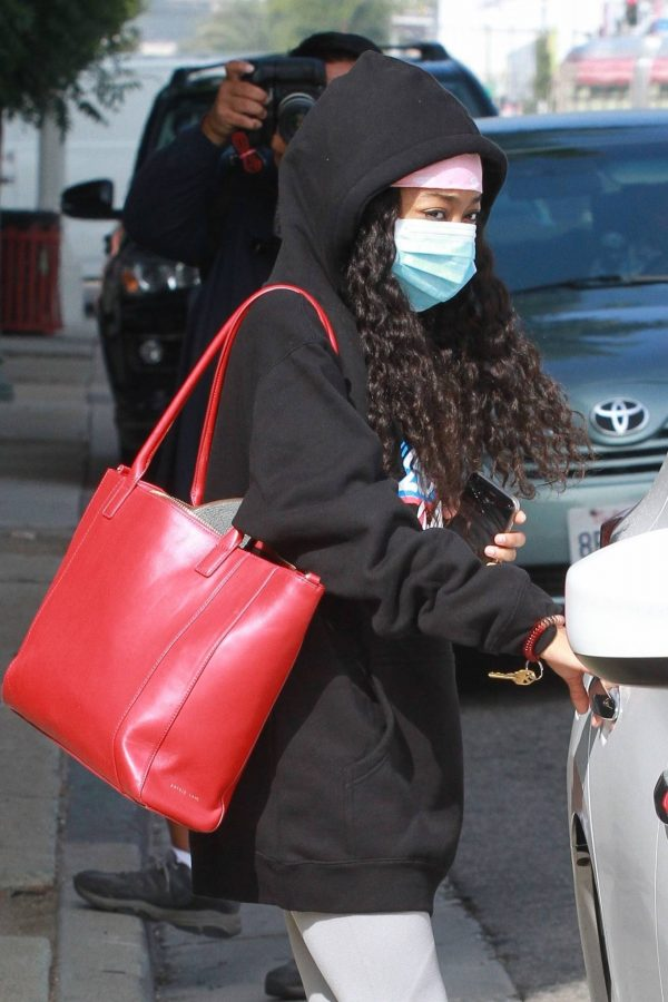 Skai Jackson Wearing mask as she leaving DWTS studio in Los Angeles 09