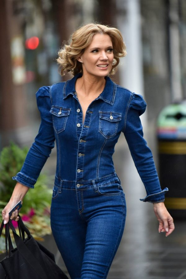 Charlotte Hawkins In denim jumpsuit in London 12