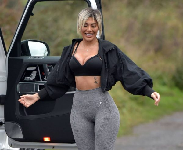 Chloe Ferry With her puppy out on a walk in Newcastle 18
