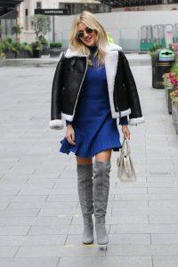 Ashley Roberts In blue dress leaving Global Radio in London 01