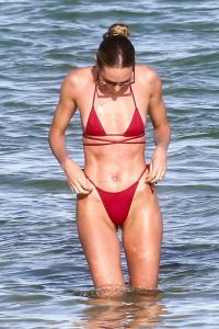 Candice Swanepoel Seen at a Beach in Miami 05