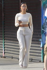 Draya Michele In all white ensemble on set for her reality show in West Hollywood 28