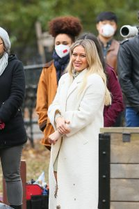 Hilary Duff and Sutton Foster on the set of Younger in NYC 08