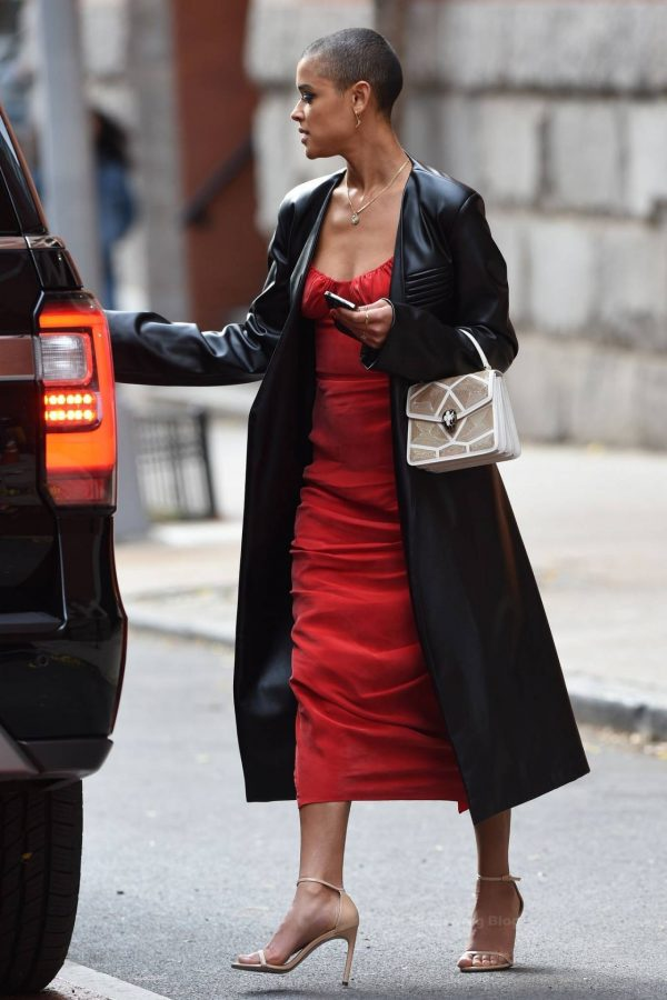 Jordan Alexander In a red dress on the set in New York 01