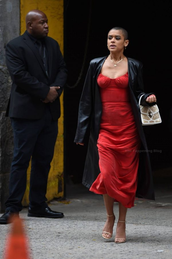 Jordan Alexander In a red dress on the set in New York 02