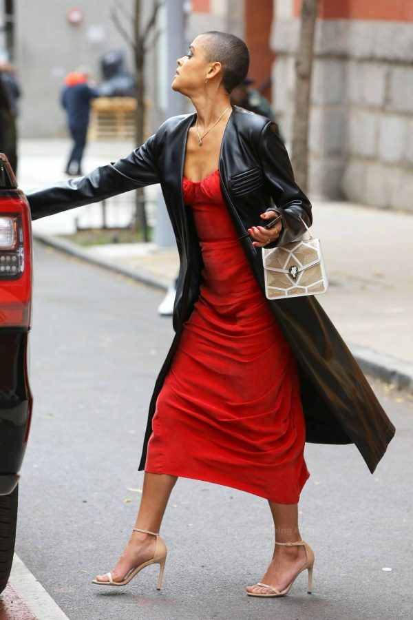 Jordan Alexander In a red dress on the set in New York 04