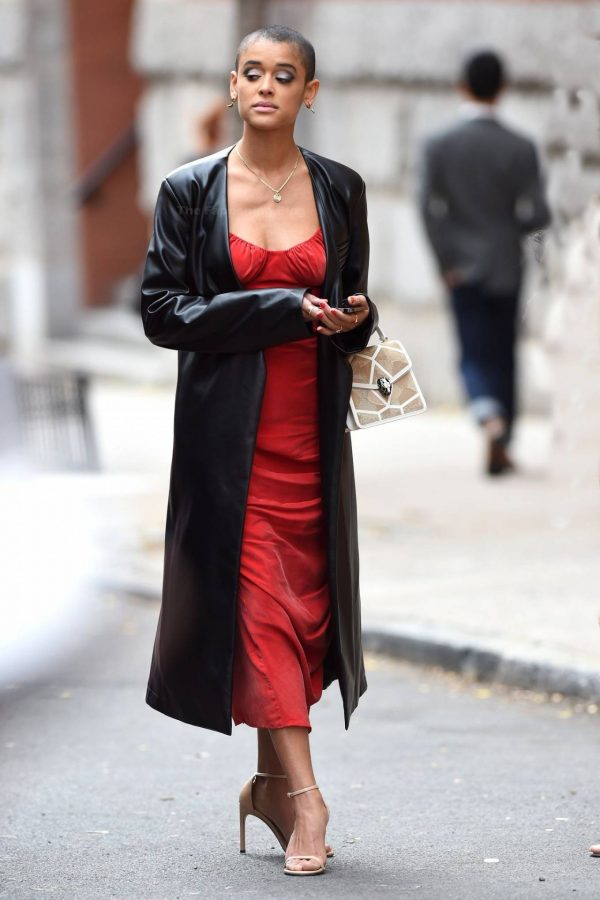 Jordan Alexander In a red dress on the set in New York 07