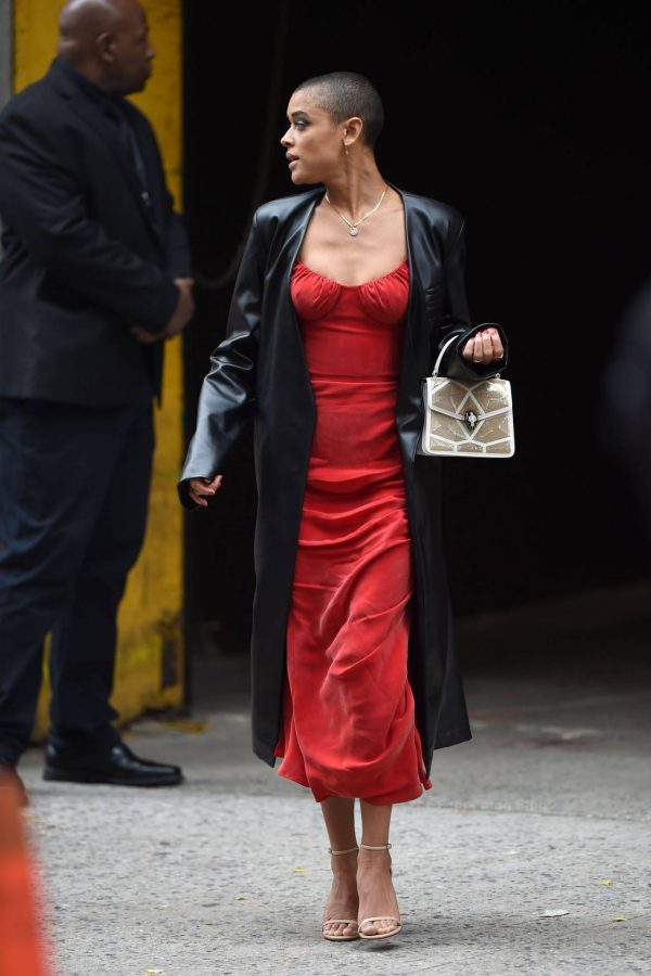 Jordan Alexander In a red dress on the set in New York 08