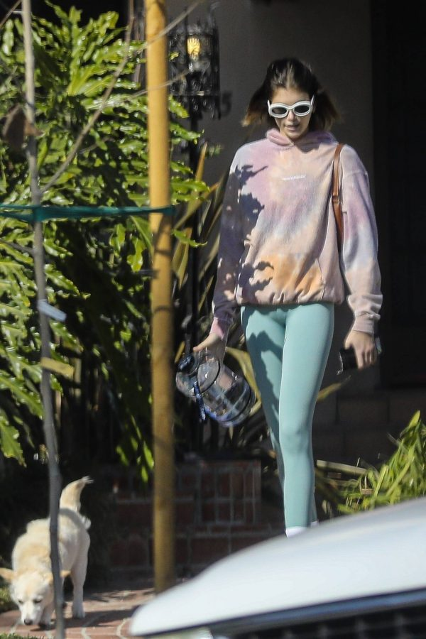 Kaia Gerber Seen walking her dog in Santa Monica 07