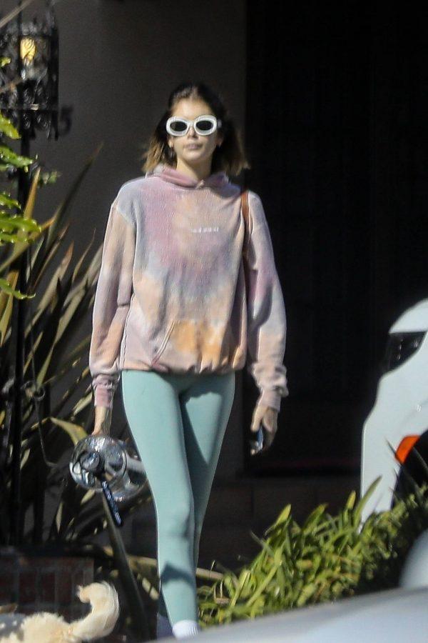 Kaia Gerber Seen walking her dog in Santa Monica 09