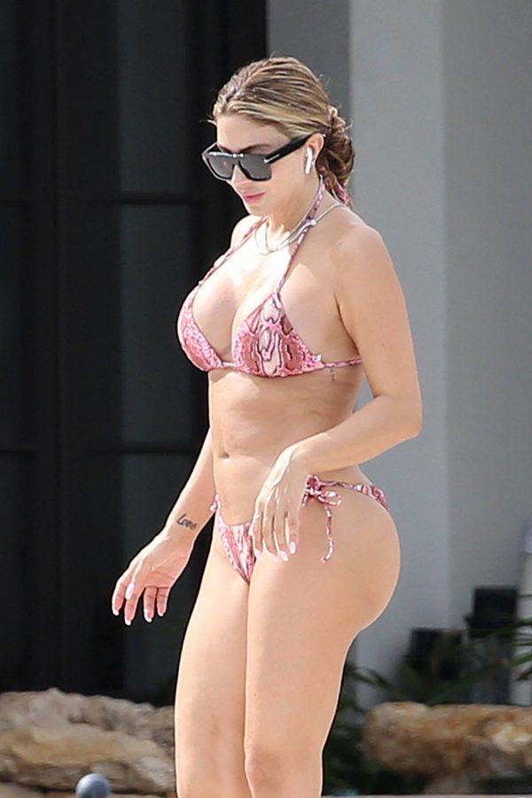 Larsa Pippen In a pink snakeskin bikini in Ft. Lauderdale 01