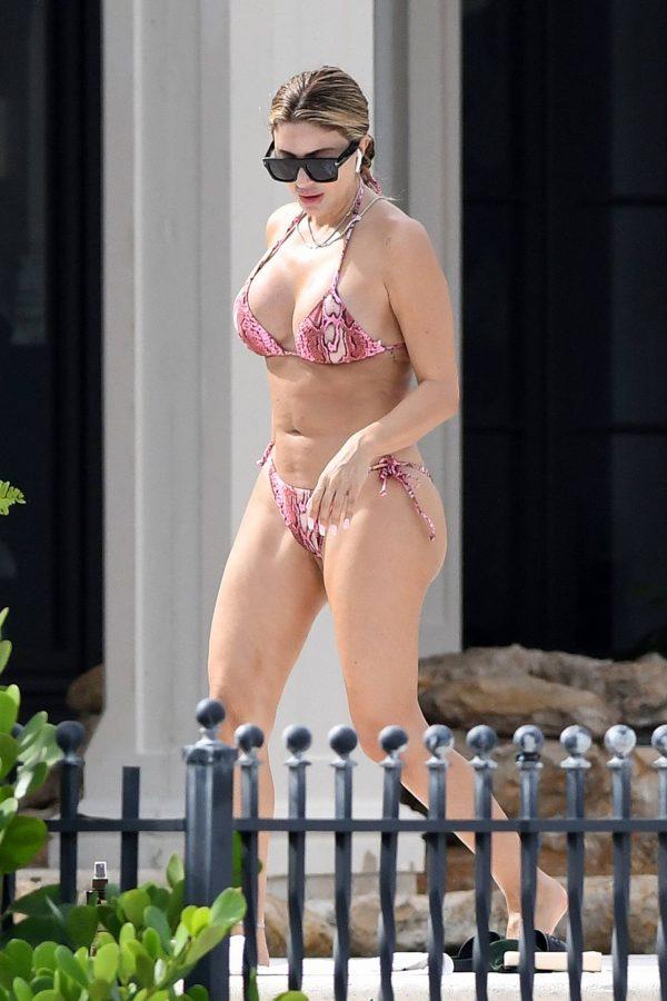 Larsa Pippen In a pink snakeskin bikini in Ft. Lauderdale 13