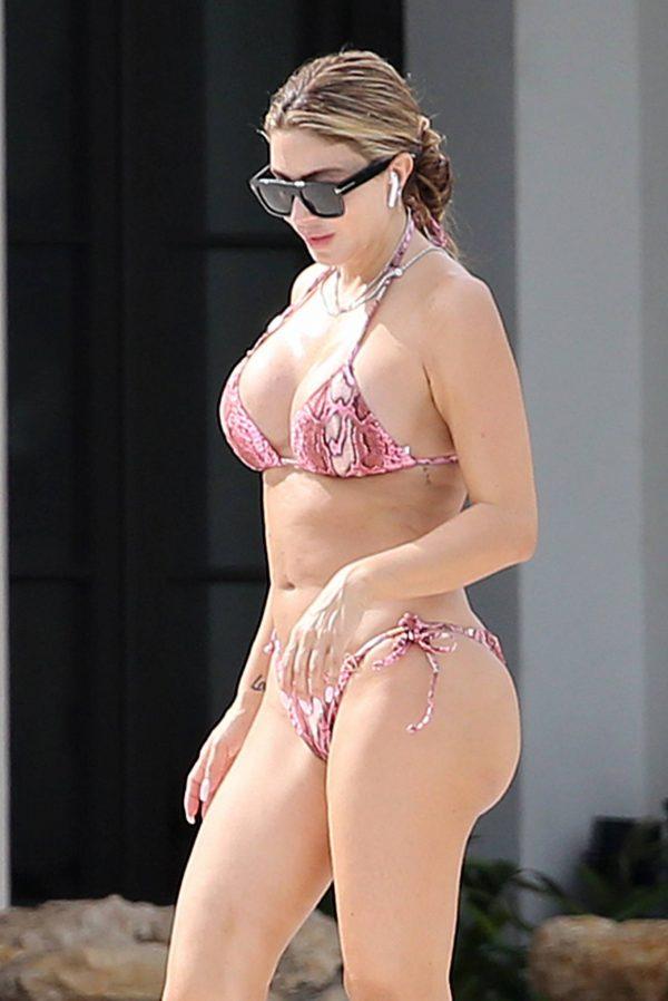 Larsa Pippen In a pink snakeskin bikini in Ft. Lauderdale 14
